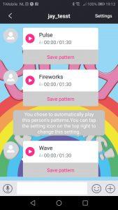 Capture d'écran de l'application Lovense Lush 2.0